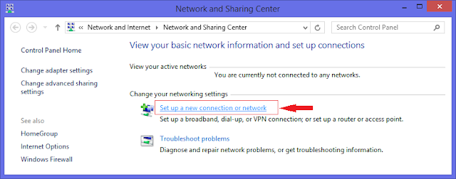 Set up a new connection or network on windows 8.1