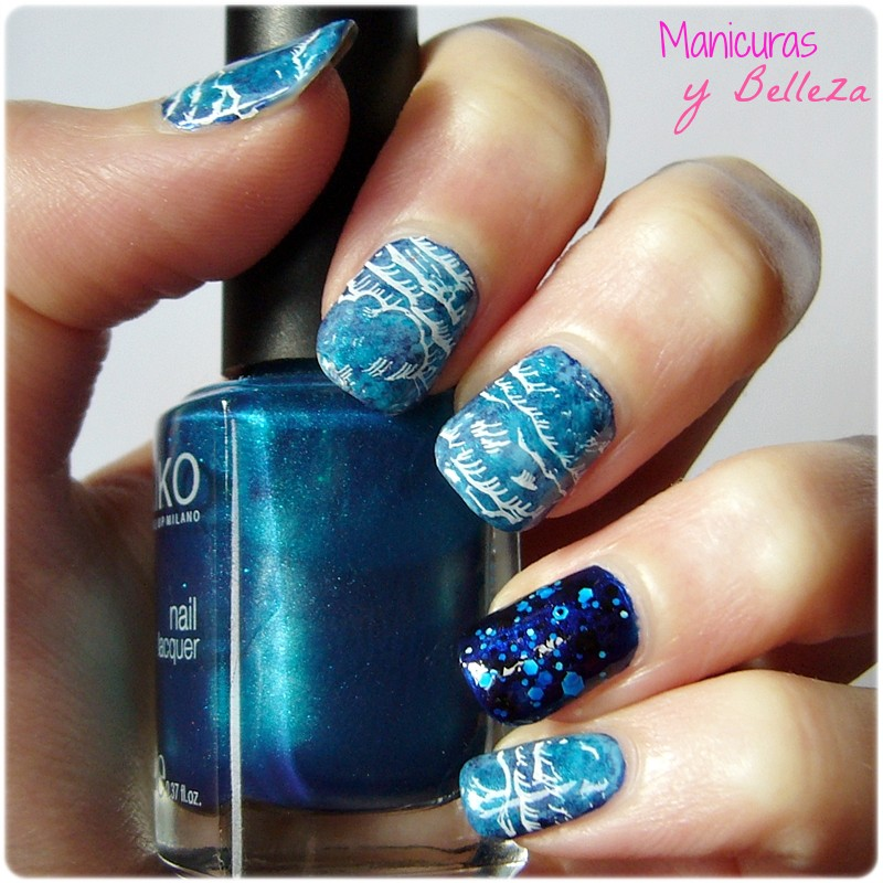 manicura nubes clouds nail art moyou london stamping plates placas estampación blue nails uñas azul jelly sandwich Maybelline