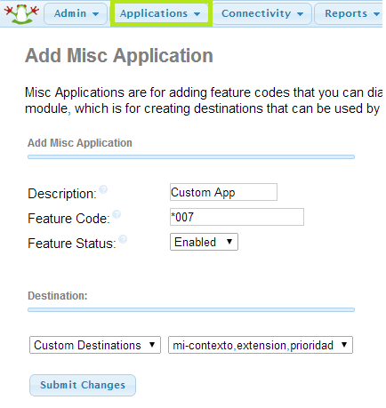 FreePBX: Misc Application
