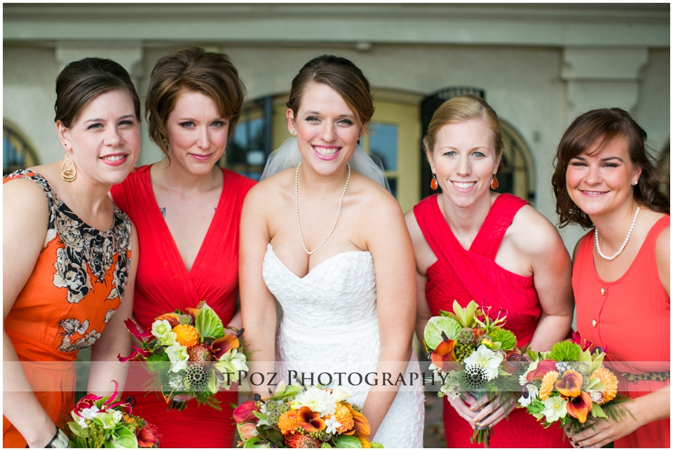 Maryland Zoo Wedding Baltimore Orange bridesmaids dresses