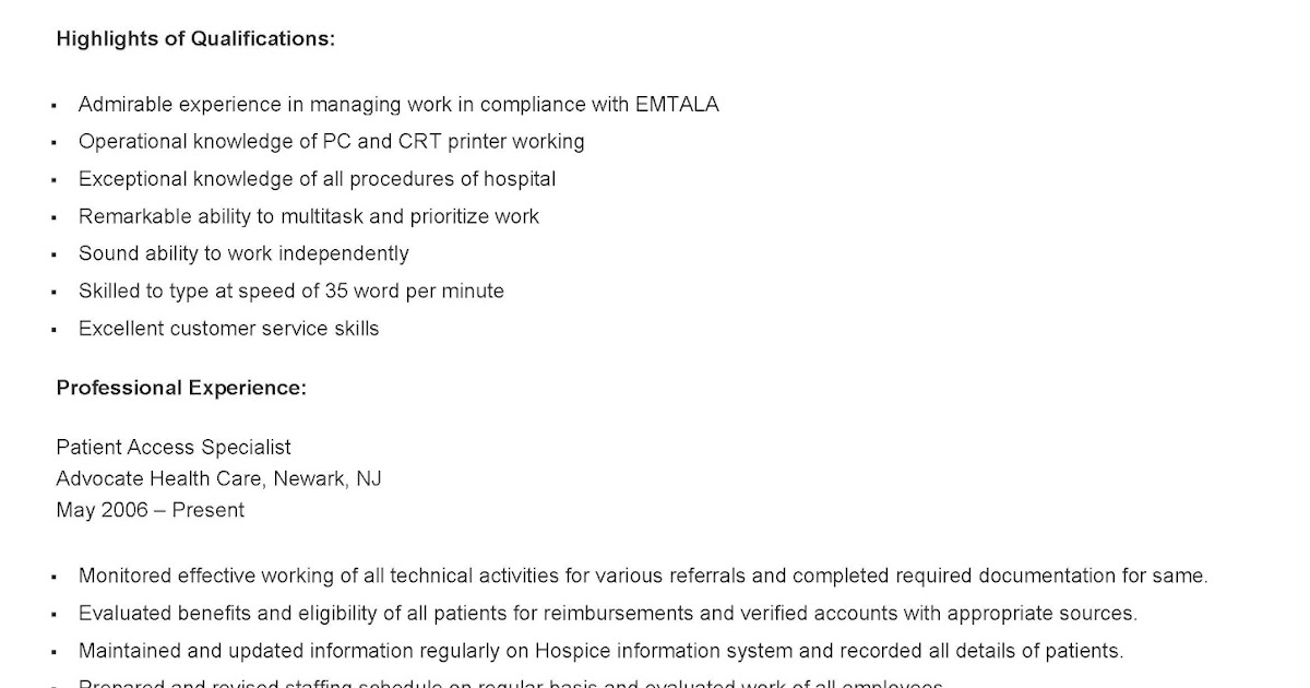 resume samples  sample patient access specialist resume