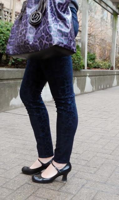 Smart Set Outfit #2: Charming sweater and velvet print jeans, david jones purple purse, shop for jayu collar necklace, h&m sunglasses, aldo mary jane shoes, fashion, style
