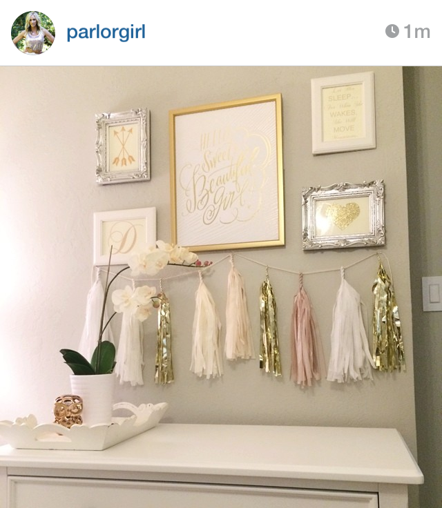 gallery wall, tassel garland nursery