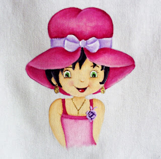 boneca moranguinho pintada em pano de copa