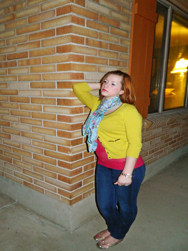 Wearing Colors Mustard Cardigan Pink and Blue outfits