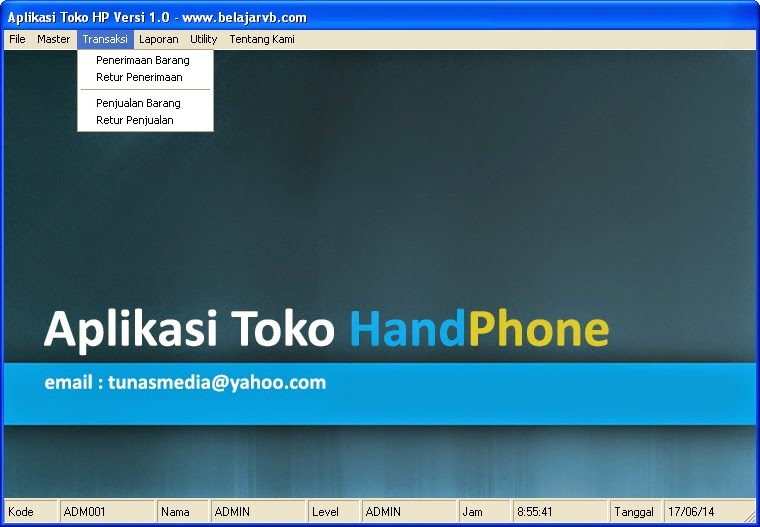 Aplikasi Program Aplikasi Toko Hand Phone VB 6.0 - Belajar VB