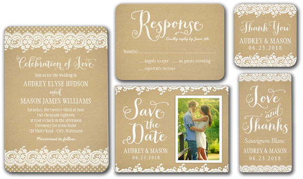 Lace and Kraft Wedding Invitation