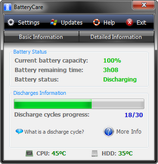 Saving Battery With BatteryCare 0.9 status