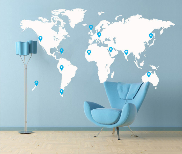 Interior living room design wall stickers world map for Room design map