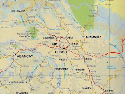 Mapa da região de Cusco e Pisac - Peru