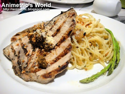 Grilled Blue Marlin served with Garlic Noodles at Cerchio