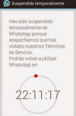 Reloj suspendido de WhatsApp