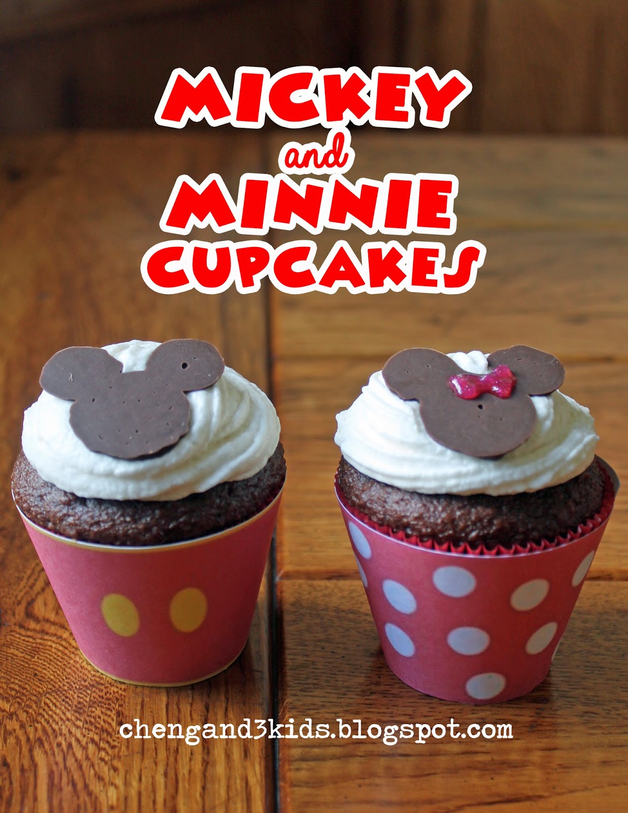 Mickey and Minnie Mouse Cupcakes at chengand3kids.blogspot.com