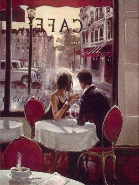 """Оригинал схемы вышивки  """"Кафе в Париже """" ."""