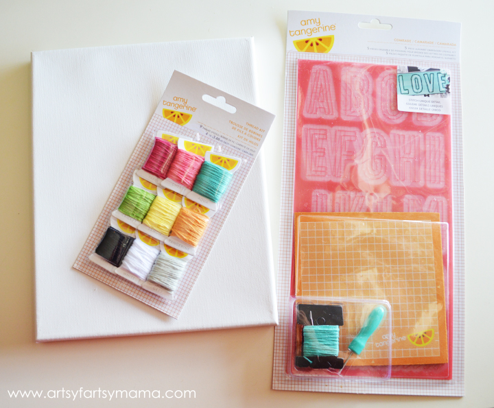 DIY Embroidered Canvas with Amy Tangerine Embroidery Kit at artsyfartsymama.com #AmyTangerine #embroidery #create