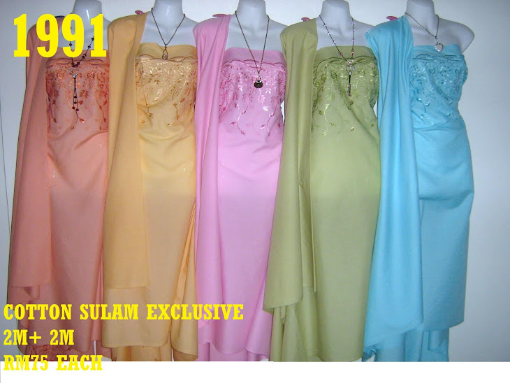 CS 1991: COTTON SULAM MATCHING EXCLUSIVE, 2 M SULAM + 2 M PLAIN, SULAMAN YG AMAT KEMAS  DAN CANTIK