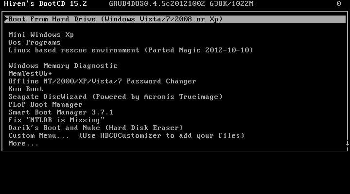 First boot up menu screen of Hiren LiveCD