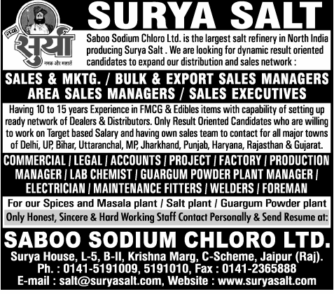 jobs in surya salt jaipur saboo sodium chloro ltd job