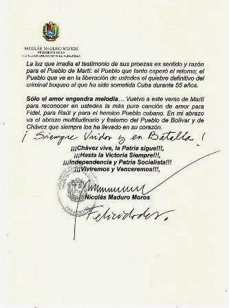 Carta de presidente de Venezuela Nicolás Maduro a Los Cinco héroes de Cuba