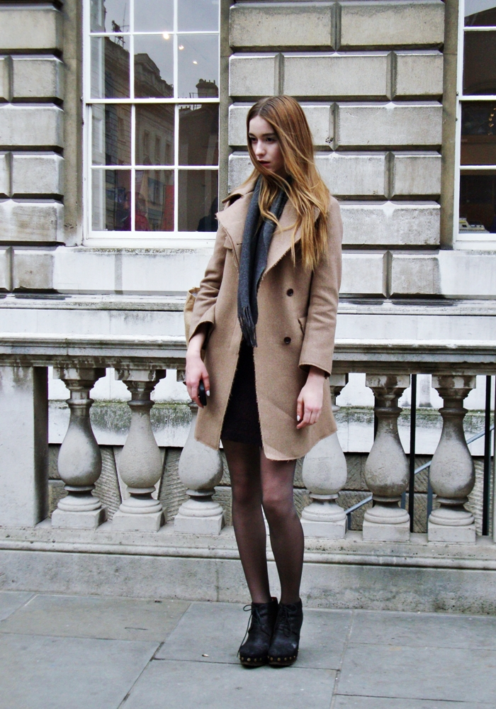 Beige Light Brown Coat Grey Scarf Black Dress