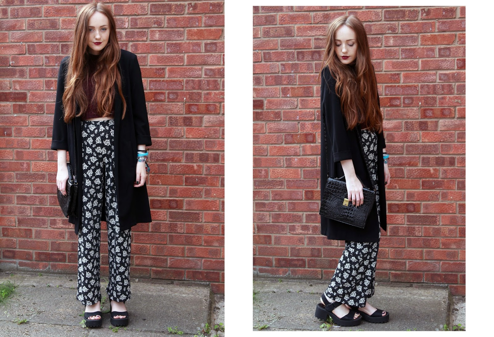 OOTD featuring forever 21 purple ribbed high neck crop top, primark black duster coat, floral flares, black cleated sole sandals and a primark satchel