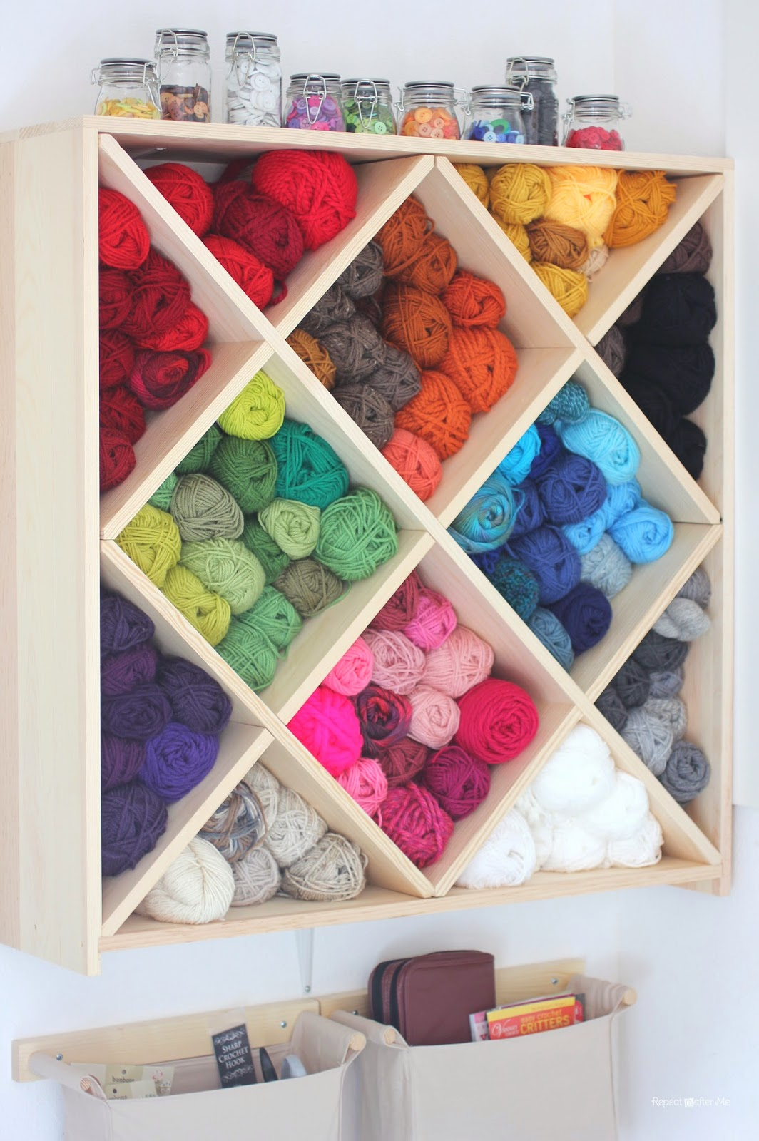 Repeat crafter me yarn storage system Homemade craft storage ideas