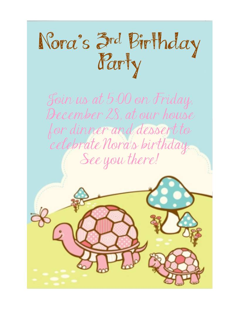 The Almost Perfectionist Noras Turtle Birthday Party – Turtle Birthday Invitations