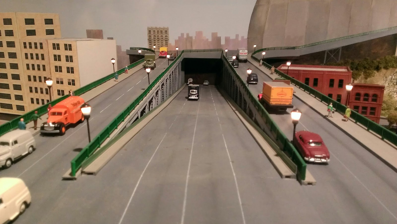 model road underpass with cars