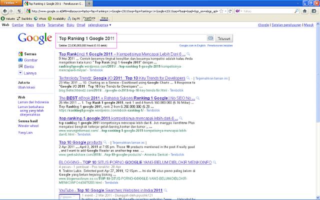 Hasil SERP Google Indonesia - Top Ranking 1 Google 2011