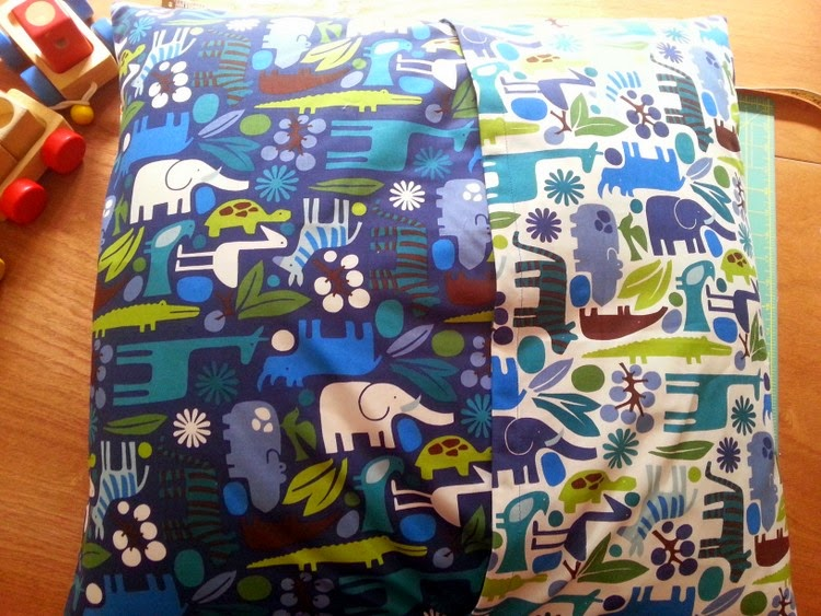 reverse side envelope reading cushion cover, Alexander Henry 2D zoo