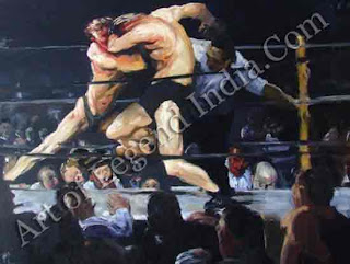 Stag at Sharkey's (1907), This painting of an illegal boxing match by George Bellows, once an athlete himself, was hailed as a 'landmark of realism'. It conveys all the movement and excitement of both spectators and combatants intent on drawing blood. Bellows is said to have remarked when criticized for pugilistic inaccuracy, 'I don't know anything about boxing. I am just painting two men trying to kill each other.'