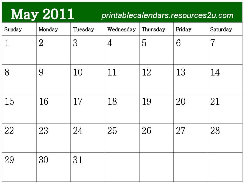 free printable blank calendars 2011. Free Blank Planner May 2011