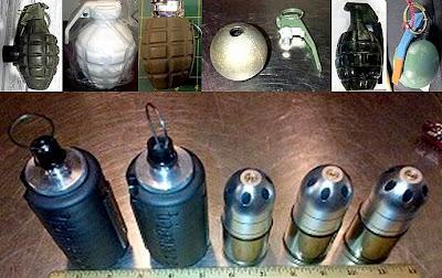 (L-R) Gearshift Grenade (SEA), Ceramic Grenade (HNL), Lighter Grenade (LAS), Inert Grenade (LAS), Novelty Grenade (DAL), Practice Grenade (CAK), Airsoft Grenades (SJC)