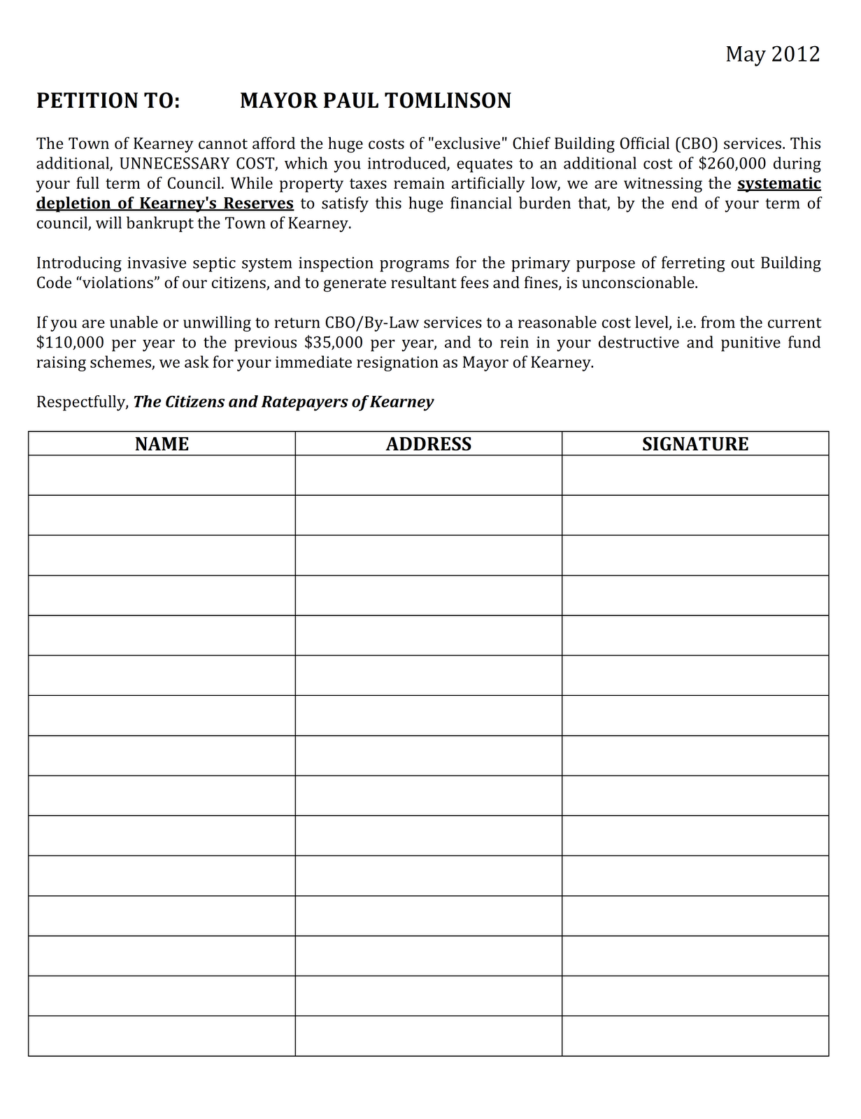 Kearney Concerned Citizens: Petition to Mayor Paul Tomlinson