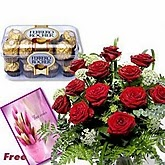 Red Roses with 16 PCS Ferraro Rocher