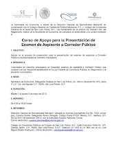 Curso de Apoyo para la Presentacin de Examen de Aspirante a Corredor Pblico en SAN LUIS POTOS