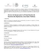 Curso de Apoyo para la Presentación de Examen de Aspirante a Corredor Público en SAN LUIS POTOSÍ