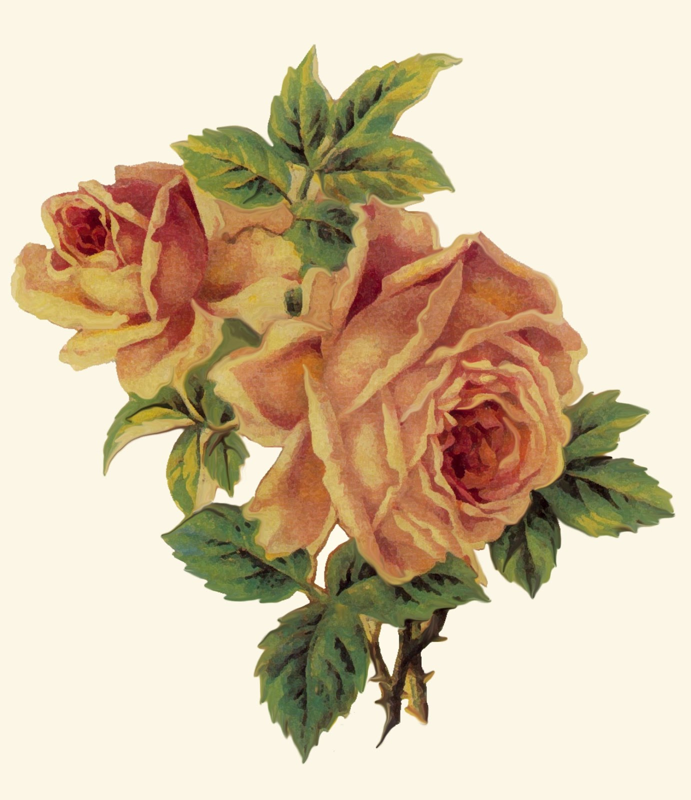 ArtbyJean , Paper Crafts A pair of roses decoupage print