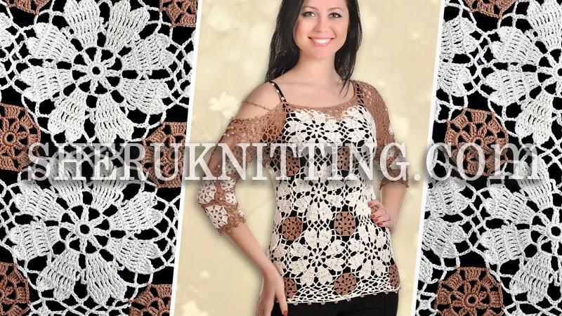 Sheruknitting Crochet Round Motif Blouse Model 24