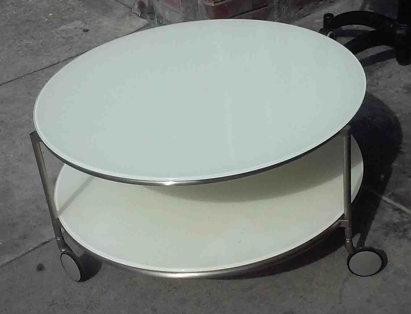 Uhuru Furniture Collectibles Sold Ikea Round White Coffee Table On Wheels 55