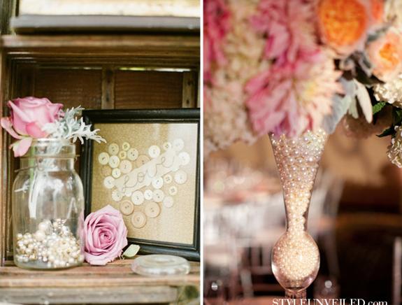 Detalles con perlas para decorar una boda