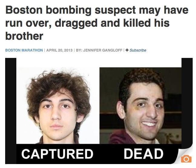 Boston Bombing Suspect Thought To Be Dzhokhar A Tsarnaev: THE RUNAGATES CLUB: Boston Bomber