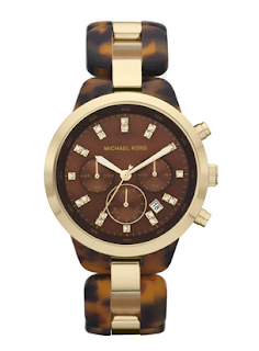 michael kors showstopper tortoise oversize watch