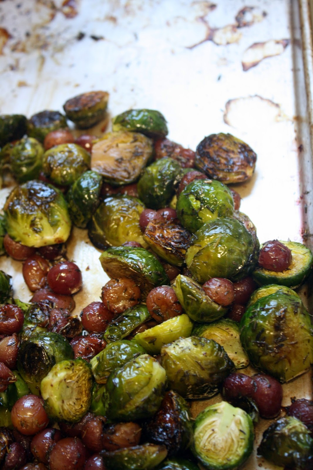 Roasted Brussels Sprouts with Grapes (before the walnuts finished ...