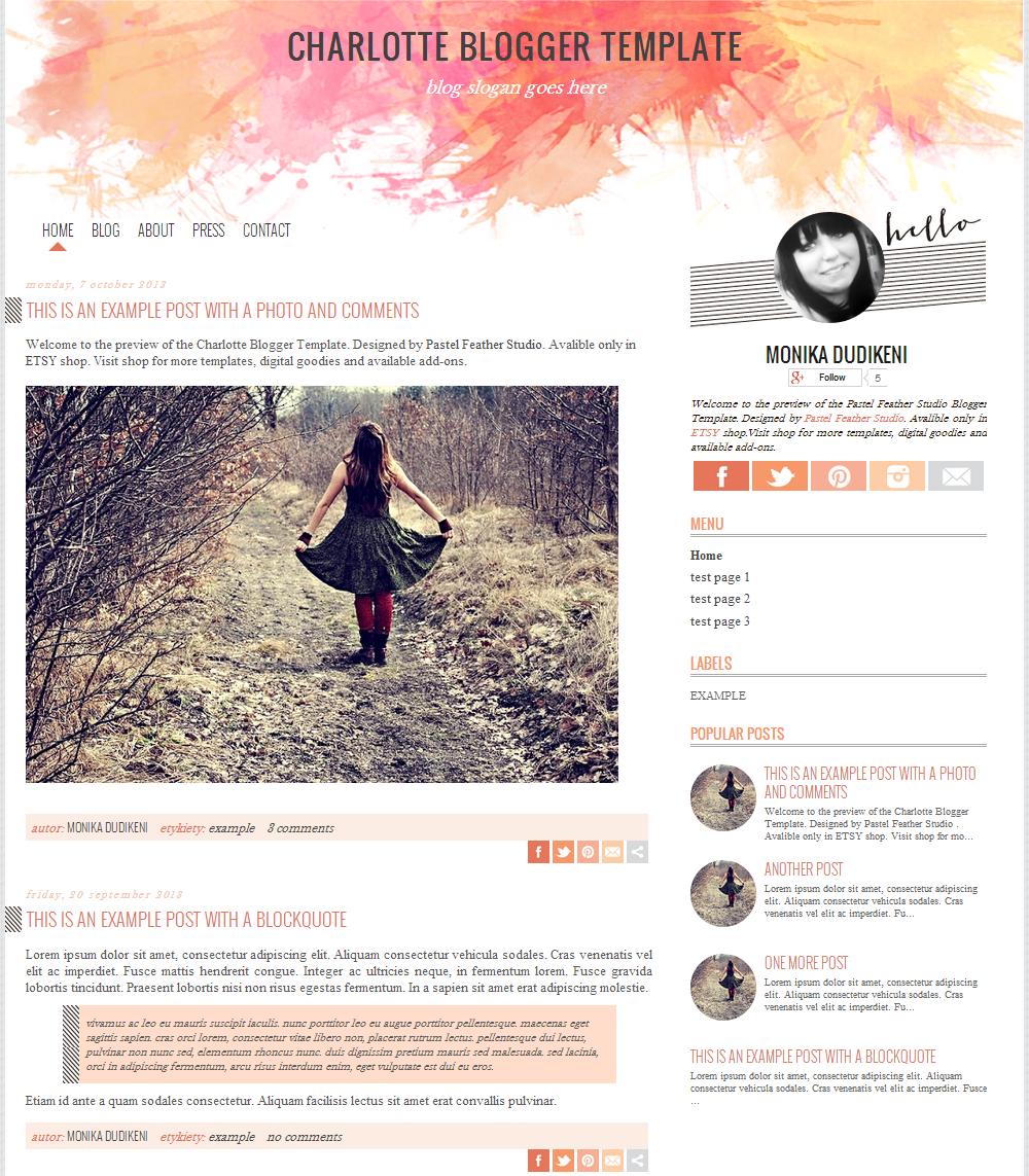 New blogger design in etsy shop charlotte blogger for Blog design ideas