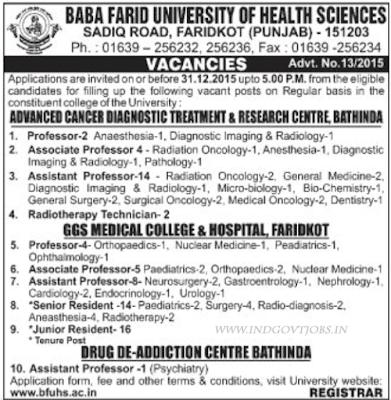 BFUHS Vacancies 2016