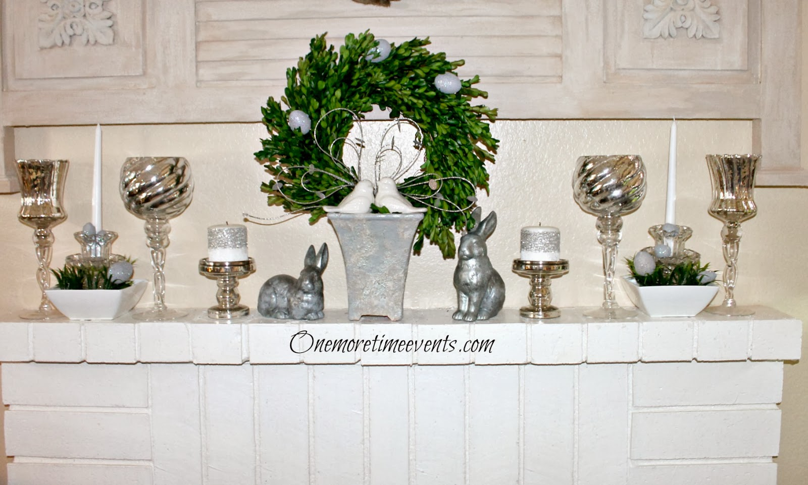 Decorating with Mercury Glass on Mantel at One More Time Events.com