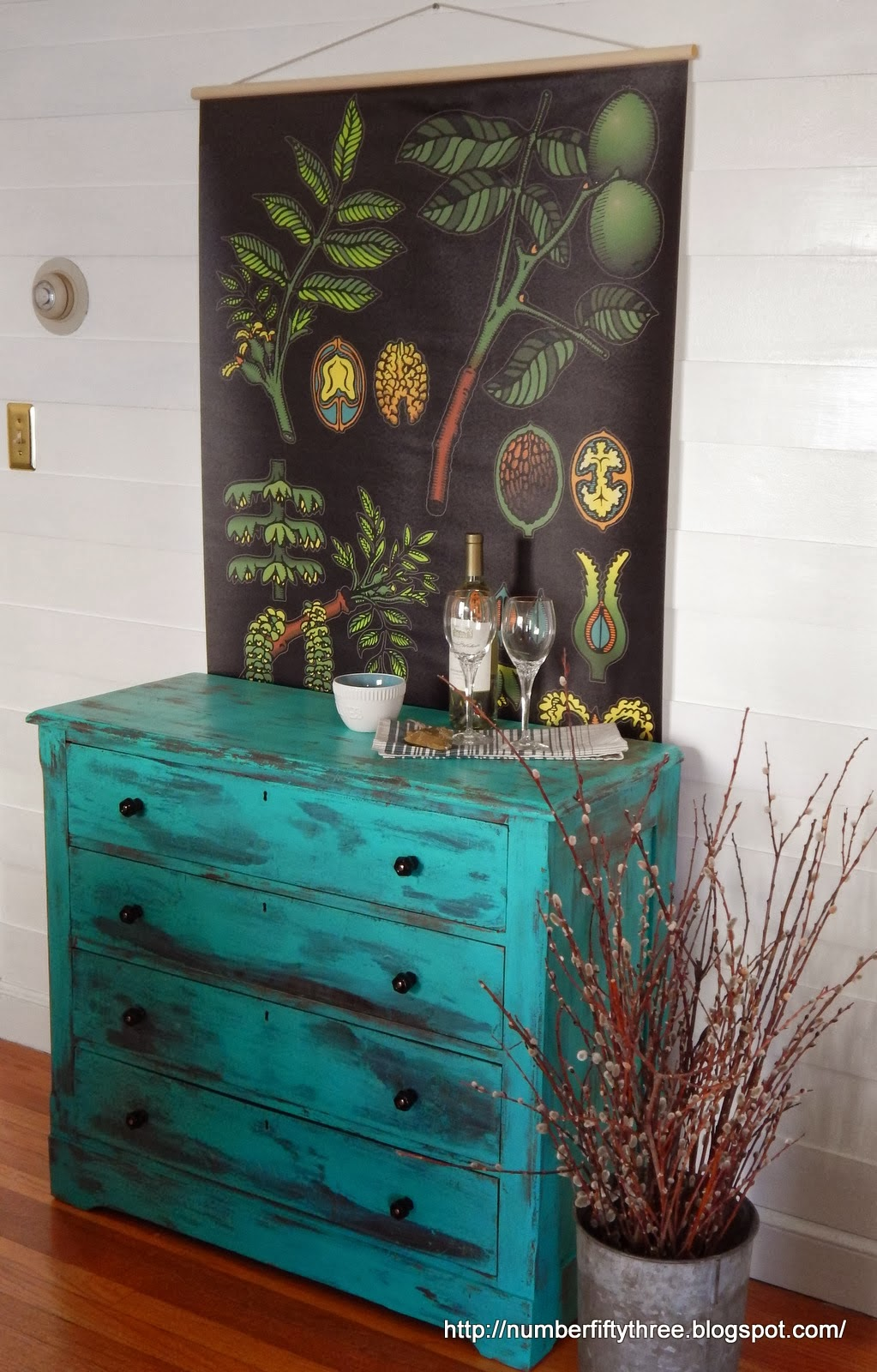 http://numberfiftythree.blogspot.com/2014/01/patina-green-antique-dresser.html#more