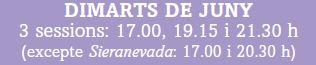 HORARIS SESSIONS DIMARTS DE JUNY