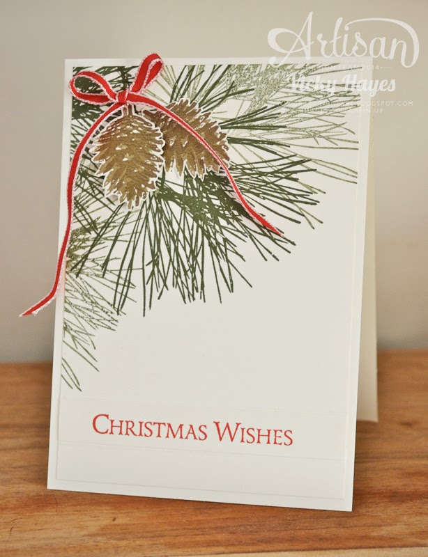 UK Stampin' Up demonstrator Vicky Hayes shows you how to make a beautiful traditional Christmas card